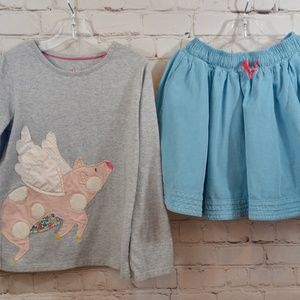 Mini Boden outfit pig shirt teal skirt 7-8Y